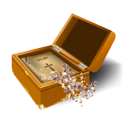 Bible with Gems in Treasure Chest