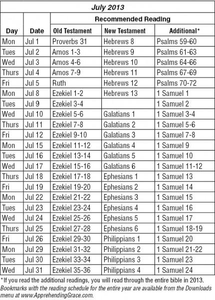 July 2013 RARE Reading Schedule JPG